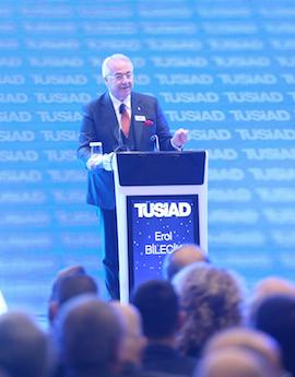 TÜSİAD'ın 49. Genel Kurul Toplantısı, Four Seasons Hotel'de gerçekleştirildi. Toplantıya katılan TÜSİAD Başkanı Erol Bilecik konuşma yaptı. ( Yasin Aras - Anadolu Ajansı )